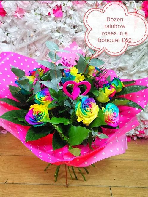 Rainbow rose dozen in a bouquet