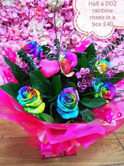 rainbow rose box half a dozen
