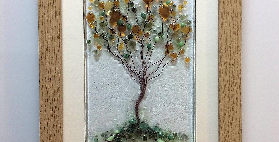 Framed Amber/Orange Blossom Tree