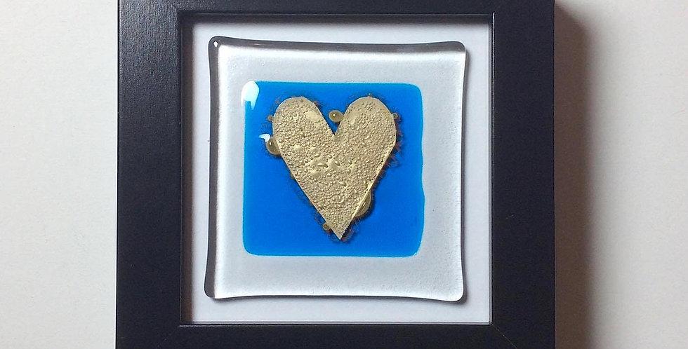 Black box Framed Gold Heart on Blue Glass Tile