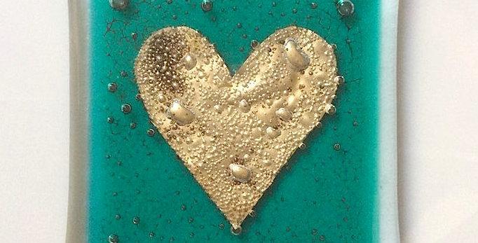 Aqua Coaster with Gold Heart
