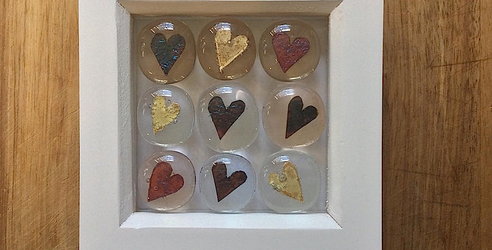 Framed Heart Stones clear/blush