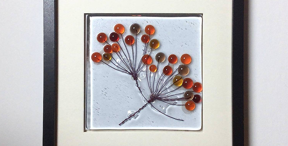 Framed Red/Amber Hogweed glass tile