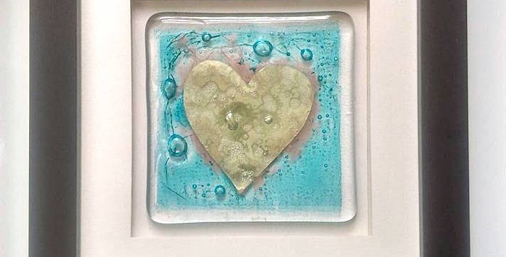 Framed Gold Heart Fused Glass Tile