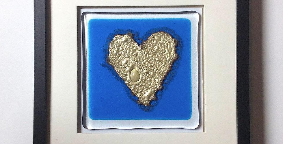 Framed Gold Heart Fused Glass Aqua Tile