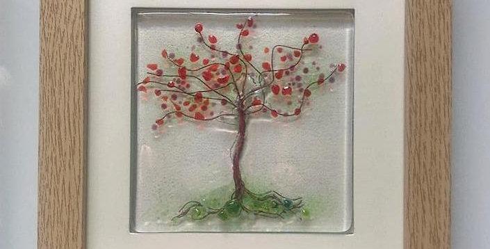 Framed Red/Pink Blossom Tree
