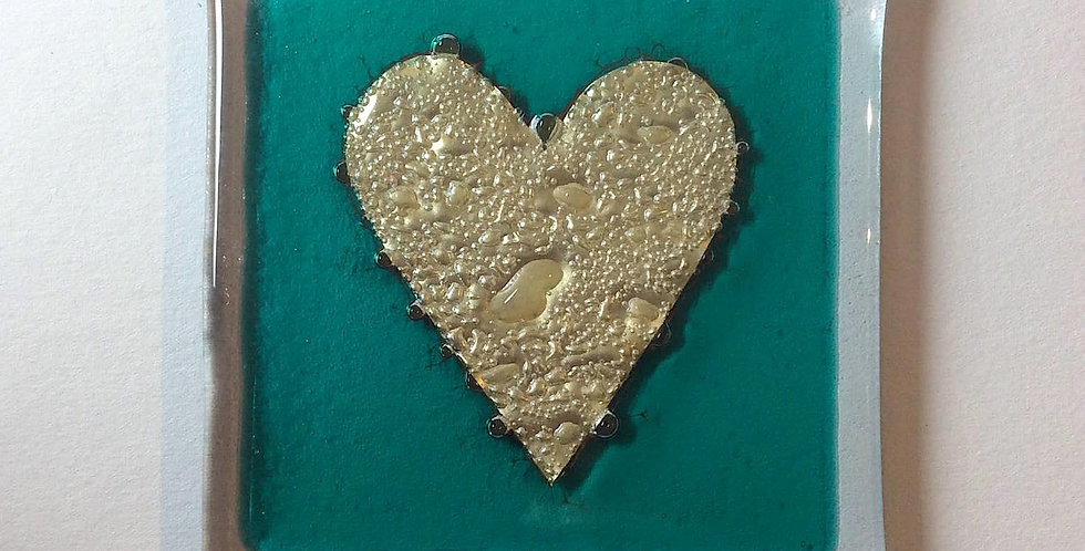 Aqua Coaster with Gold Heart