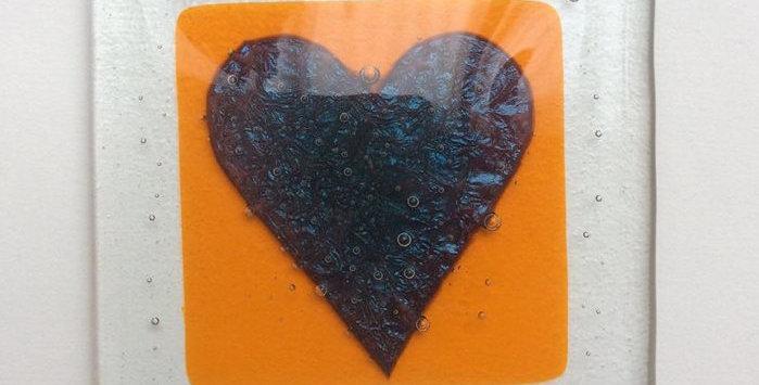 orange coaster with copper heart