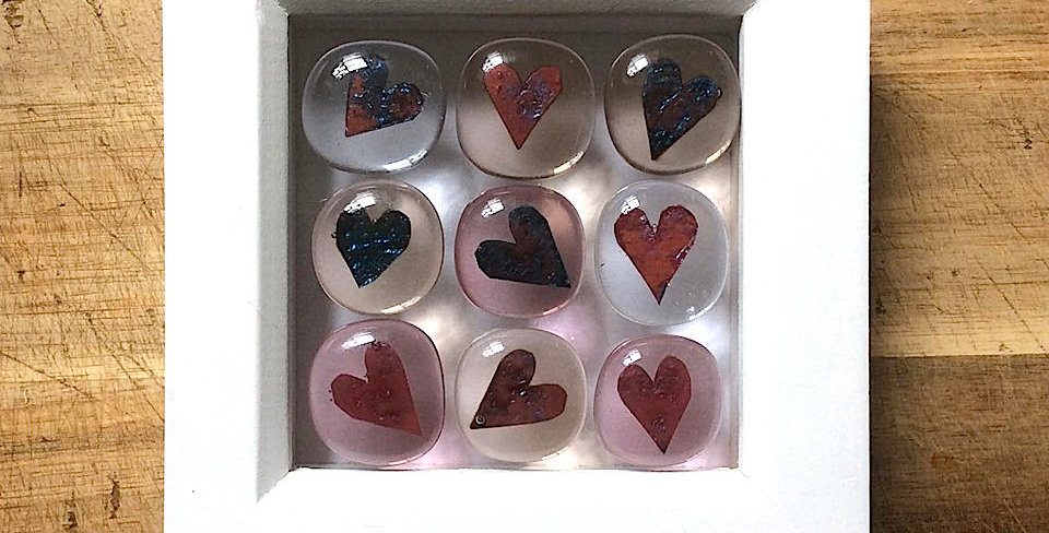 Framed Heart Stones clear/blush/pink