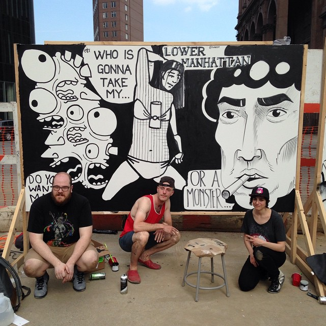 Me and the giant face I drew for _secretwalls with _ojidjo and _abstract_cartoonism _)