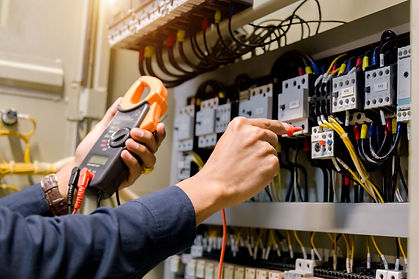 Electrician engineer work  tester measuring  voltage and current of power electric line in