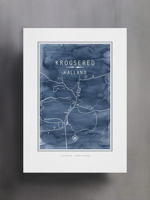 Handtecknad poster i akvarell i färgen blå, en karta över Krogsered, Halland