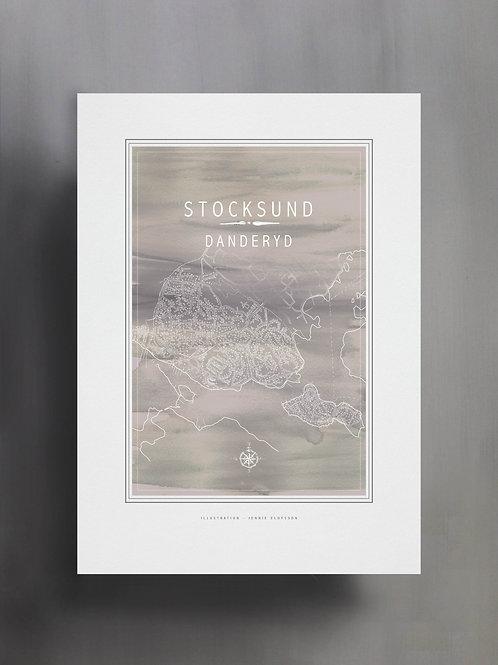 Handtecknad poster i akvarell i färgen grå, en karta över Stocksund, Danderyd
