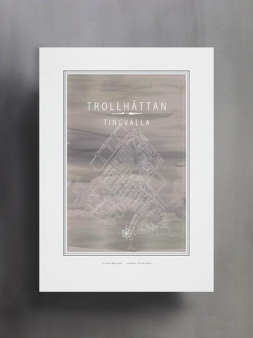 Handtecknad poster i akvarell i färgen grå, en karta över Tingvalla, Trollhättan