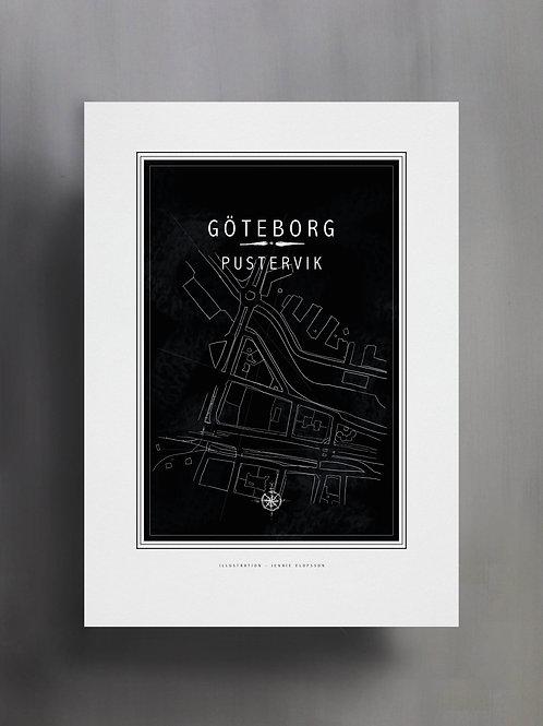 Handtecknad poster i akvarell med färgen svart, en karta över Pustervik, Göteborg
