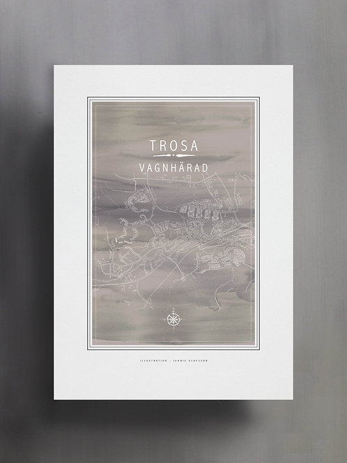 Handtecknad poster i akvarell i färgen grå, en karta över Vagnhärad, Trosa