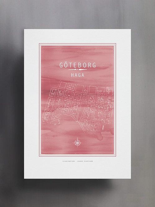 Handtecknad poster i akvarell med färgen tulpan, en karta över Haga, Göteborg