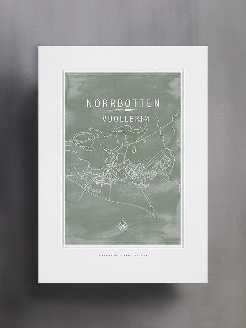 Handtecknad poster i akvarell i färgen eucalyptus, en karta över Vuollerim, Norrbotten