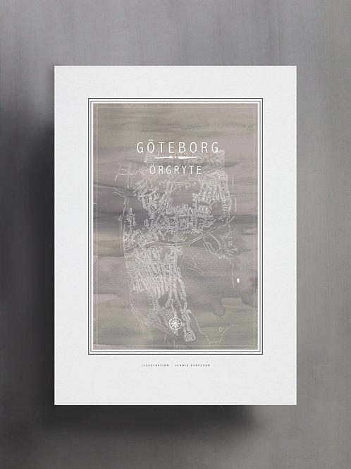 Handtecknad poster i akvarell i färgen grå, en karta över Örgryte, Göteborg