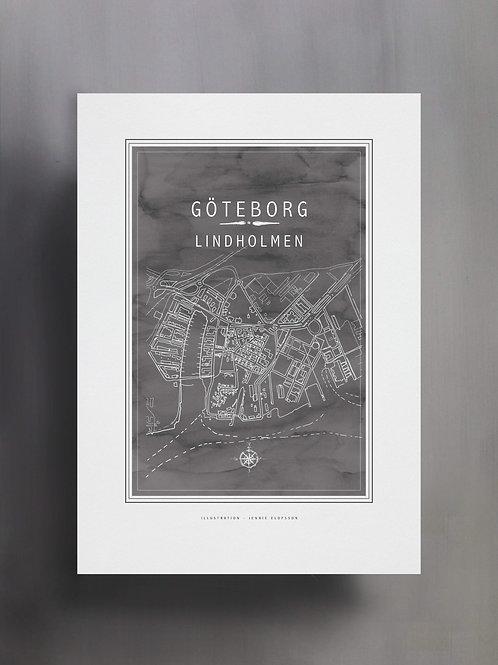 Handtecknad poster i akvarell i färgen stengrå, en karta över Lindholmen, Göteborg