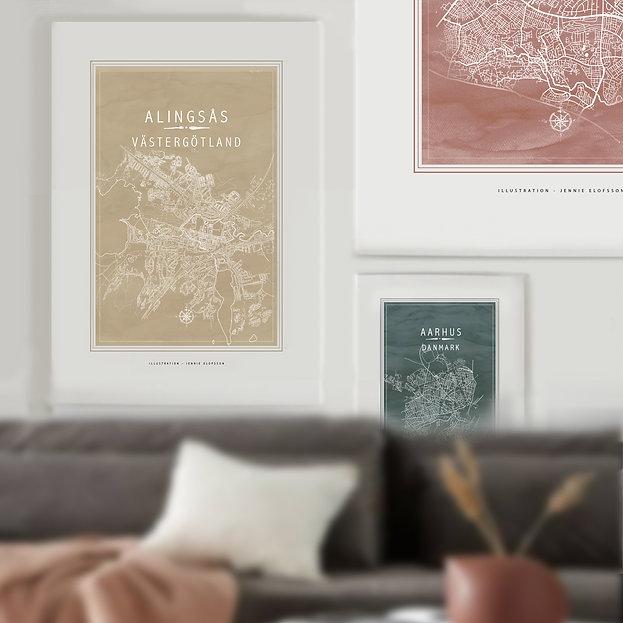 Line of Art, stadsdelskarta, poster. Karta Alingsås