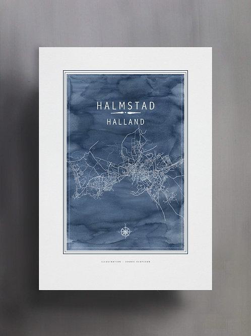 Handtecknad poster i akvarell i färgen blå, en karta över Halmstad, Halland