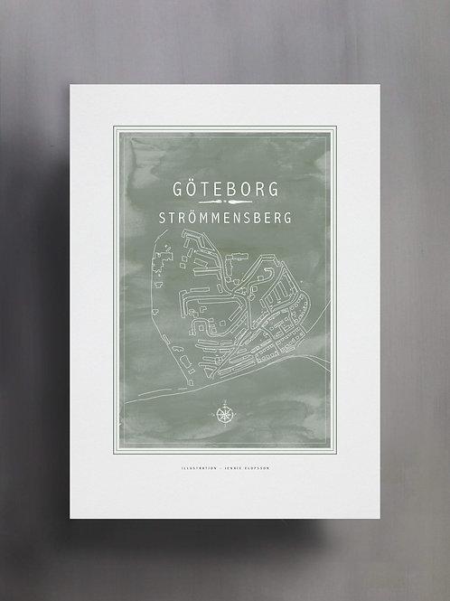 Handtecknad poster i akvarell med färgen eucalyptus, en karta över Strömmensberg, Göteborg