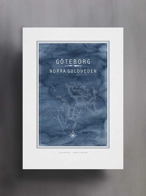 Handtecknad poster i akvarell med färgen blå, en karta över Norra Guldheden, Göteborg