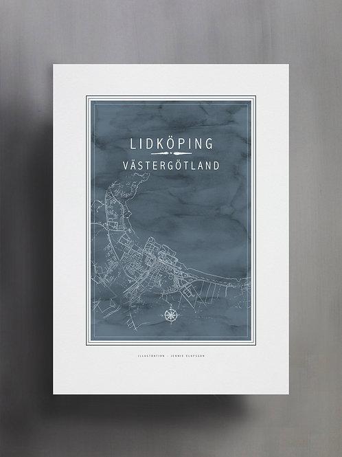 HAndtecknad kartposter över Lidköping, målad i akvarell i en blågrå ton.