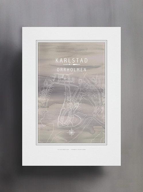 Handtecknad poster i akvarell med färgen grå, en karta över Orrholmen, Karlstad