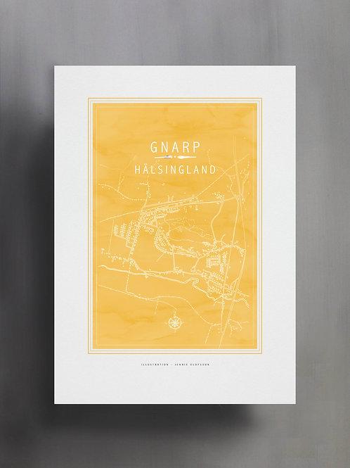 Handtecknad poster i akvarell i färgen solros, en karta över Gnarp, Hälsingland