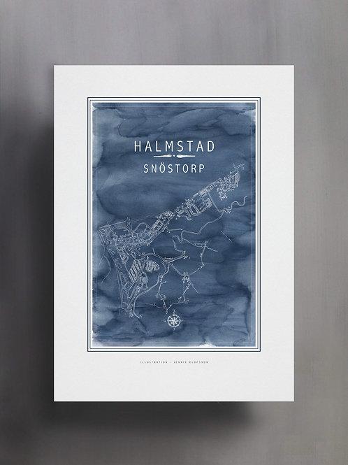 Handtecknad poster i akvarell i färgen blå, en karta över Snöstorp, Halmstad