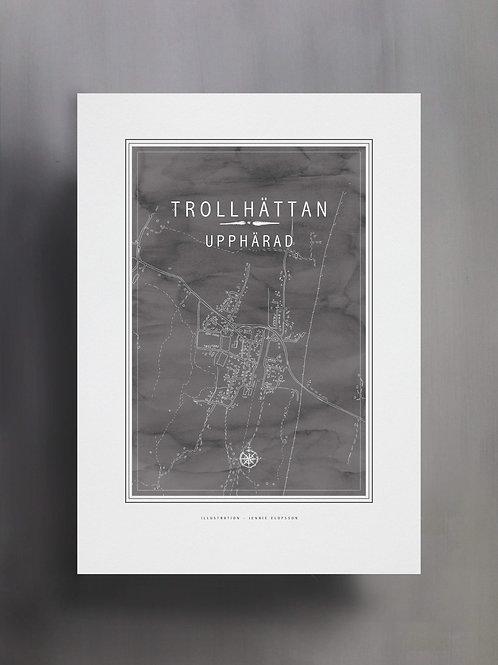 Handtecknad poster i akvarell i färgen stengrå, en karta över Upphärad, Trollhättan