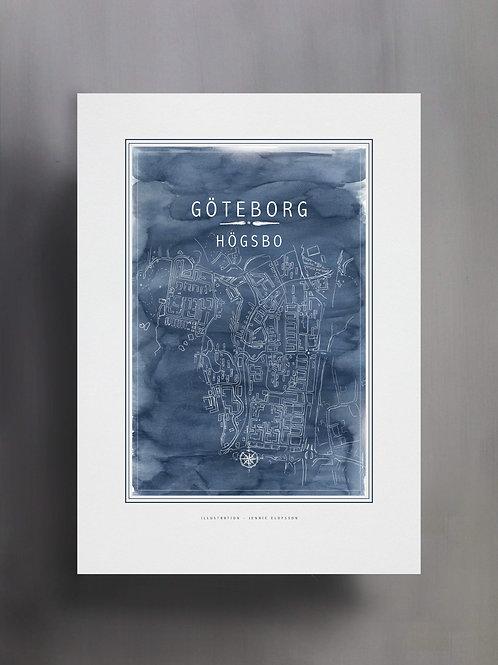 Handtecknad poster i akvarell i färgen blå, en karta över Högsbo, Göteborg