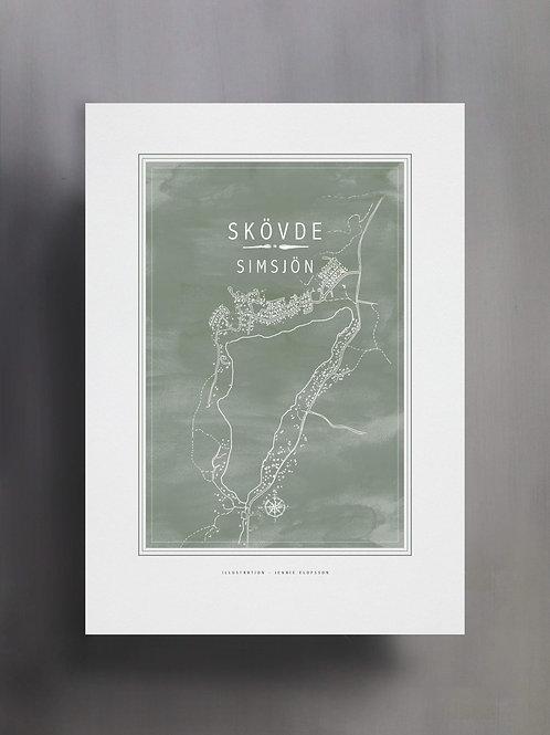 Handtecknad poster i akvarell i färgen eucalyptus, en karta över Simsjön, Skövde