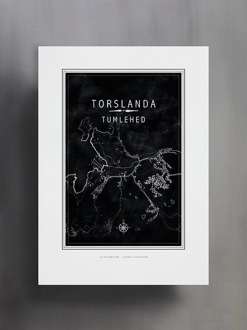 Handtecknad poster i akvarell med färgen svart, en karta över Torslanda, Tumlehed