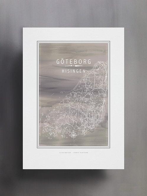 Handtecknad poster i akvarell med färgen grå, en karta över Hisingen, Göteborg