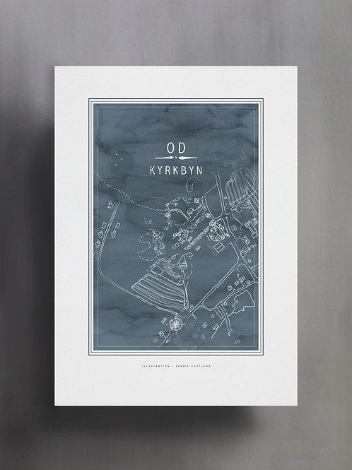 Handtecknad poster i akvarell i färgen isblå, en karta över Od, Kyrkbyn