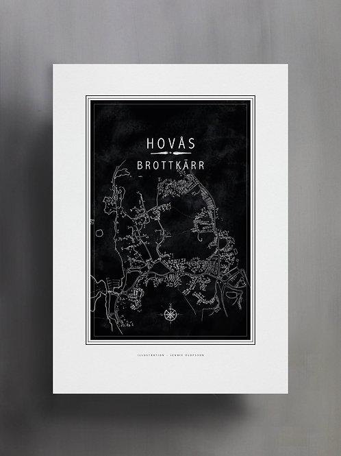 Handtecknad poster i akvarell i färgen svart, en karta över Brottkärr, Hovås