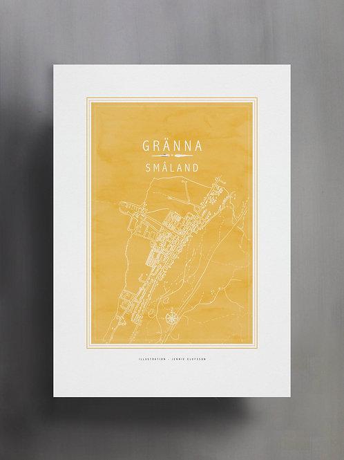 Handtecknad poster i akvarell i färgen solros, en karta över Gränna, Småland