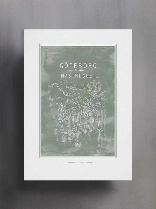 Handtecknad poster i akvarell med färgen eucalyptus, en karta över Masthugget, Göteborg