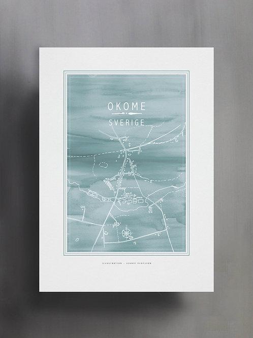 Handtecknad poster i akvarell i färgen ljusblå, en karta över Okome, Sverige