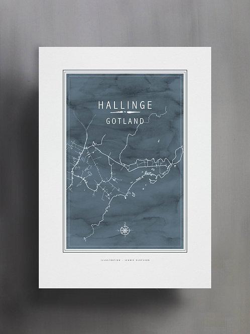 Handtecknad poster i akvarell i färgen isblå, en karta över Hallinge, Gotland