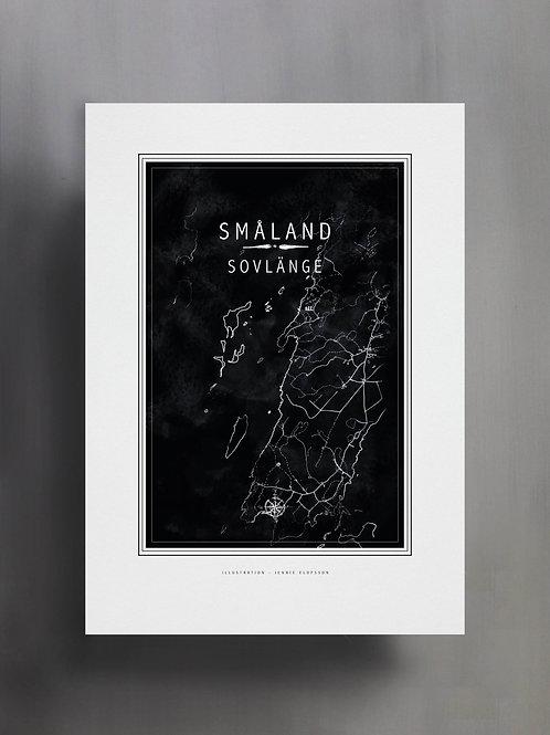 Handtecknad poster i akvarell i färgen svart, en karta över Sovlänge, Småland