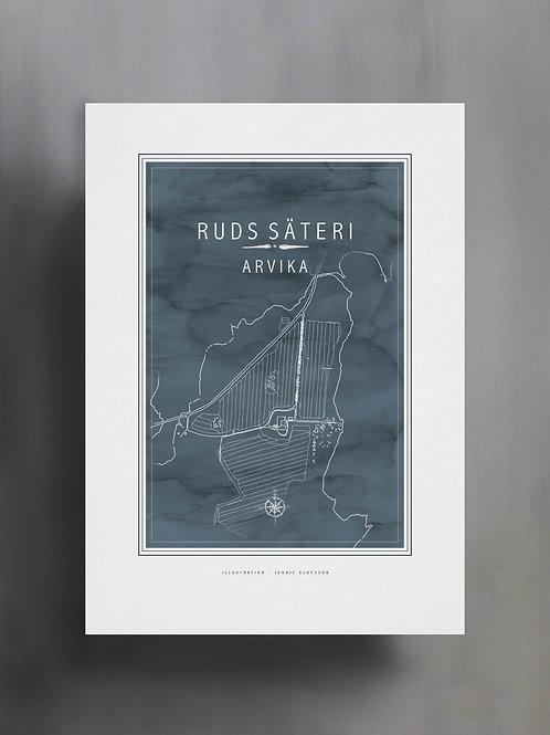 Handtecknad poster i akvarell med färgen blågrå, en karta över Ruds säteri, Arvika