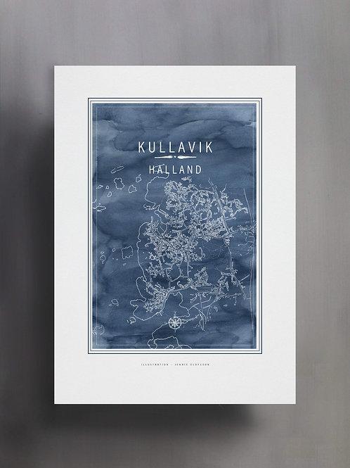 Handtecknad poster i akvarell i färgen blå, en karta över Kullavik, Halland