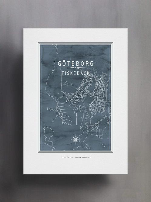 Handtecknad poster i akvarell med färgen blågrå, en karta över Fiskebäck, Göteborg