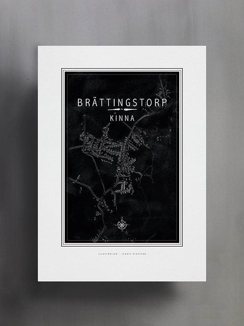Handtecknad poster i akvarell i färgen svart, en karta över Brättingstorp, Kinna