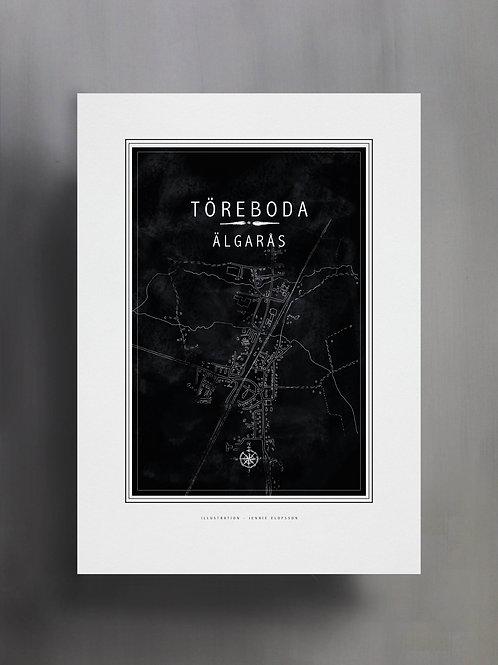 Handtecknad poster i akvarell med färgen svarta, en karta över Älgarås, Töreboda