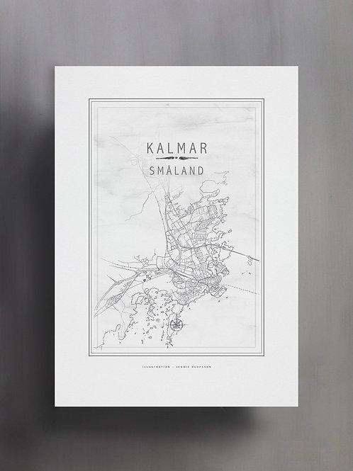 Handtecknad poster i akvarell i färgen vit, en karta över Kalmar, Småland